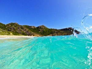 Saline's crystal clear water is ideal for swimming and body surfing.
