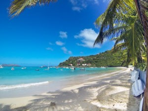 The right corner of the beach is a great place for snorkeling or to find shade under the palms.