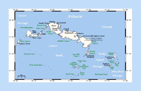 Map of Turks and Caicos