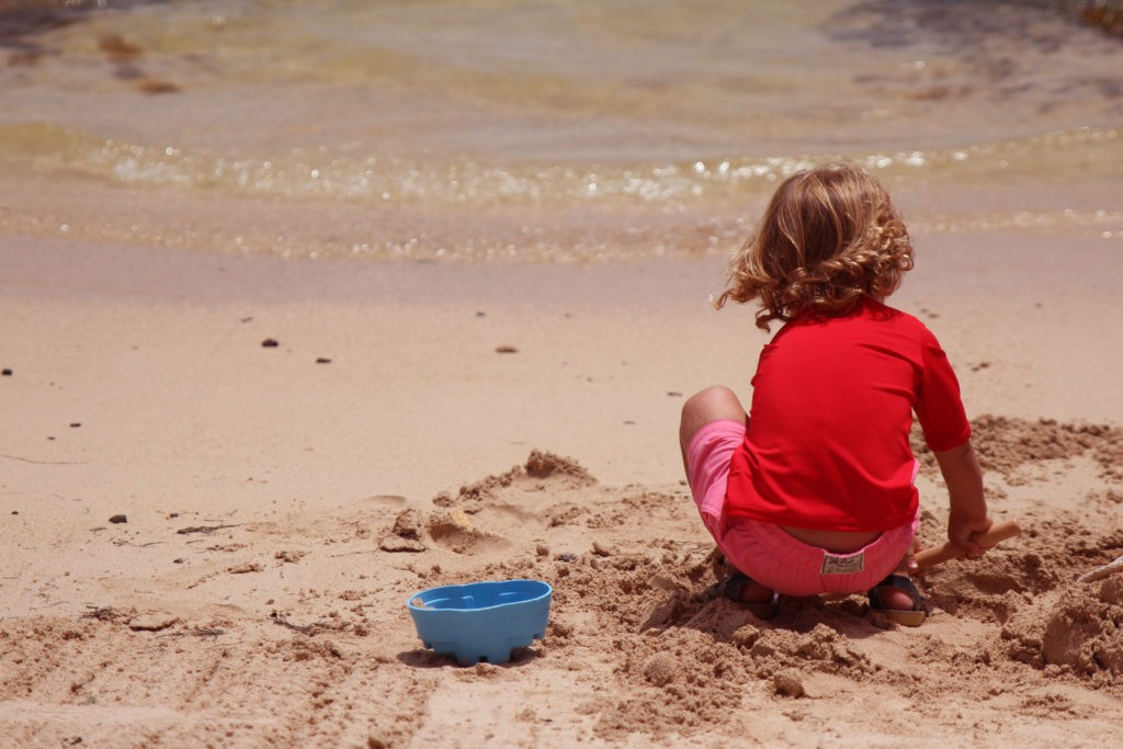 Toddler playing on St Barths Beach