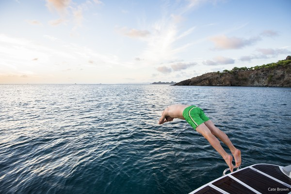 WIMCO Villas Jumping into Colombier Bay after a day of boating with Jicky Marine, St Barths