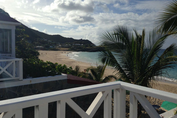 Flamands beach as seen from a villa balcony. Photo by Sherry Jacobson.