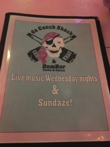 Try the cracked conch. da Conch Shack Turks and Caicos menu