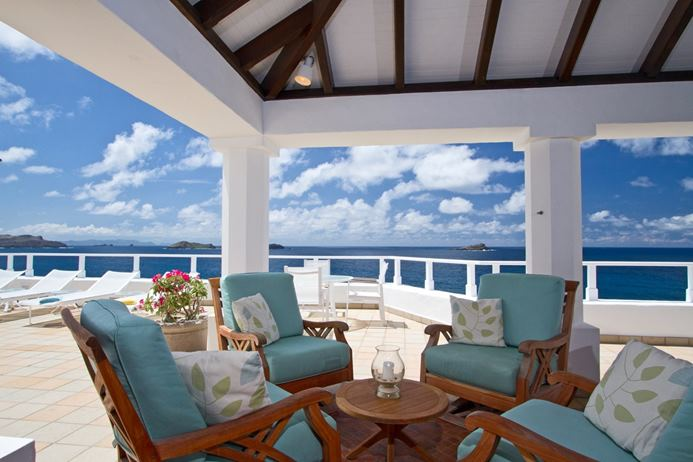 The outdoor living room at Villa MOZ (Cap Au Vent) at St. Barthelemy, Pointe Milou, Family-Friendly Villa, Pool, 4 Bedrooms, 4 Bathrooms, WiFi, WIMCO Villas