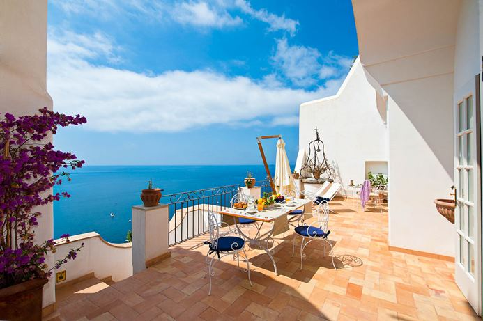 Waterfront Villa on the Amalfi Coast of Italy with spectacular views and a large deck with a view.