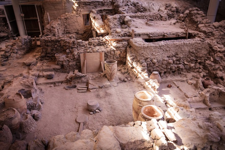 Ruins in Akrotiri Greece seen during a day trip.