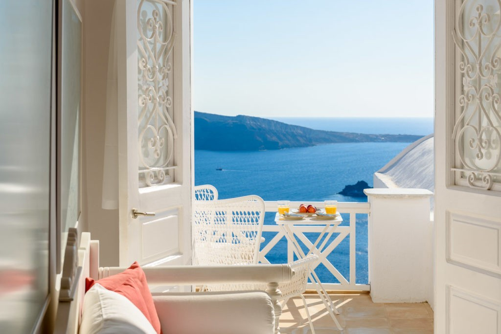 Water front villa in Santorini, Greece with amazing views.
