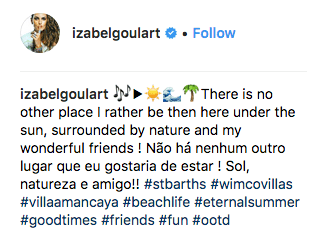 celebrity news from st barths, izabelle goulart, st barts