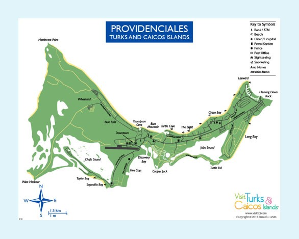 Up-close map of Providenciales, Turks and Caicos