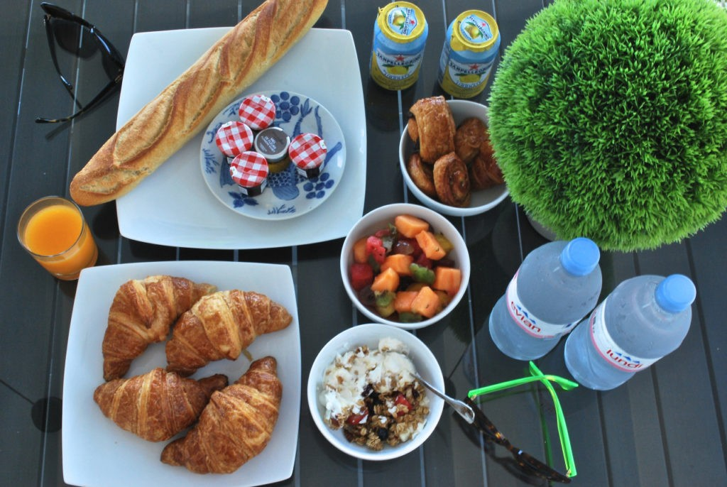 EVERY MORNING AT OUR VILLA WE HAD FRESH FRUIT, CROISSANTS & BAGUETTE FROM MAYA'S TO GO.