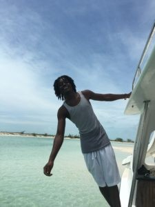 Our skipper (and DJ) to Iguana Island, Turks and Caicos